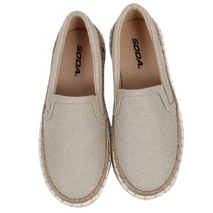 Beig Linen Espadrille Rubber Sole Loafer Slip On